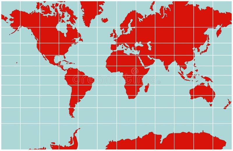 värld för översiktsmercator projektion stock illustrationer