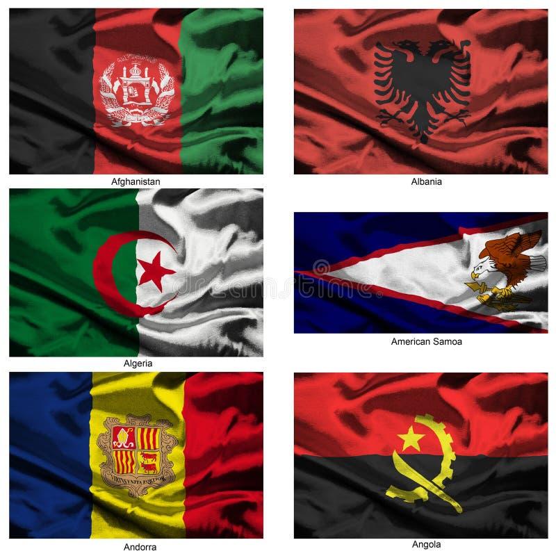 värld för 01 samlingstygflaggor royaltyfri illustrationer