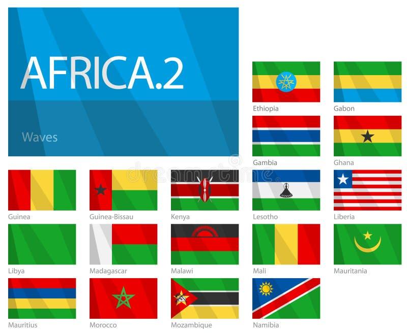värld för 2 afrikansk för landsflaggor serie för del vektor illustrationer