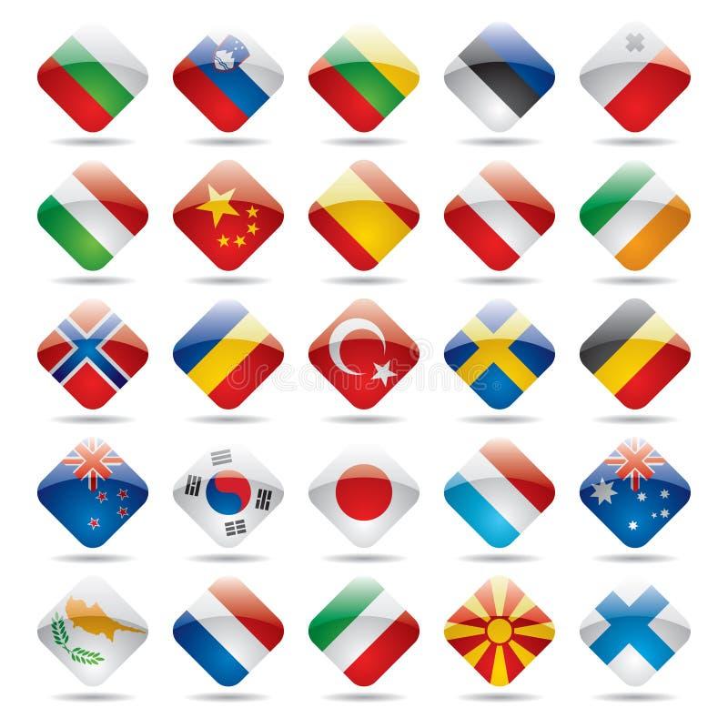 värld för 2 flaggasymboler stock illustrationer