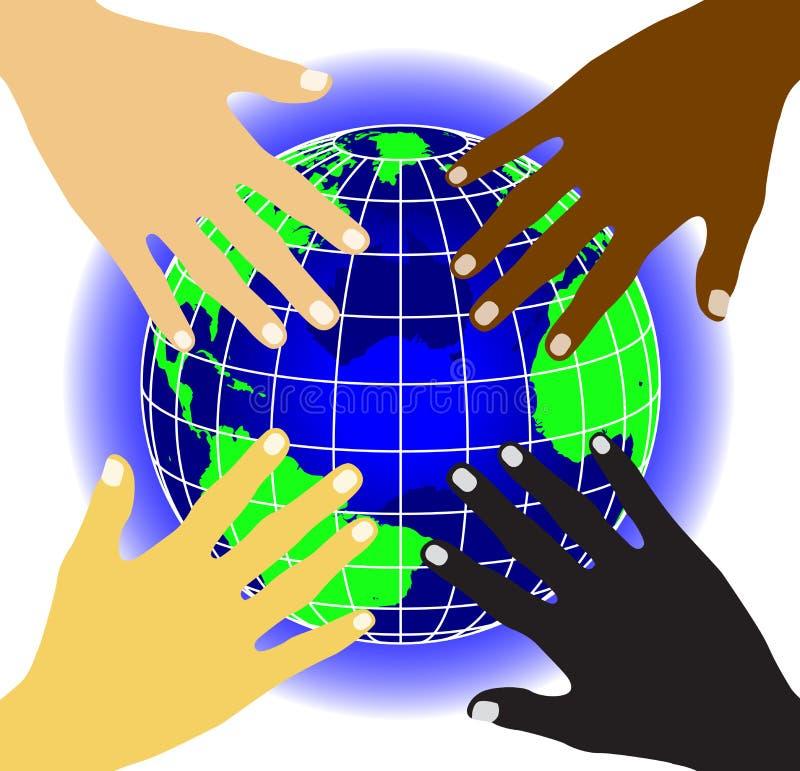 värld för 2 händer stock illustrationer