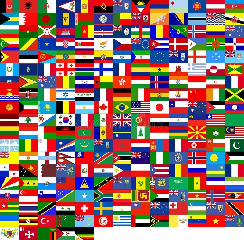 värld för 240 flaggor stock illustrationer