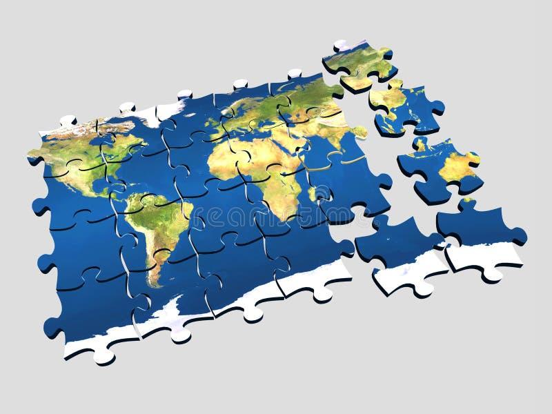 värld för 3 pussel stock illustrationer