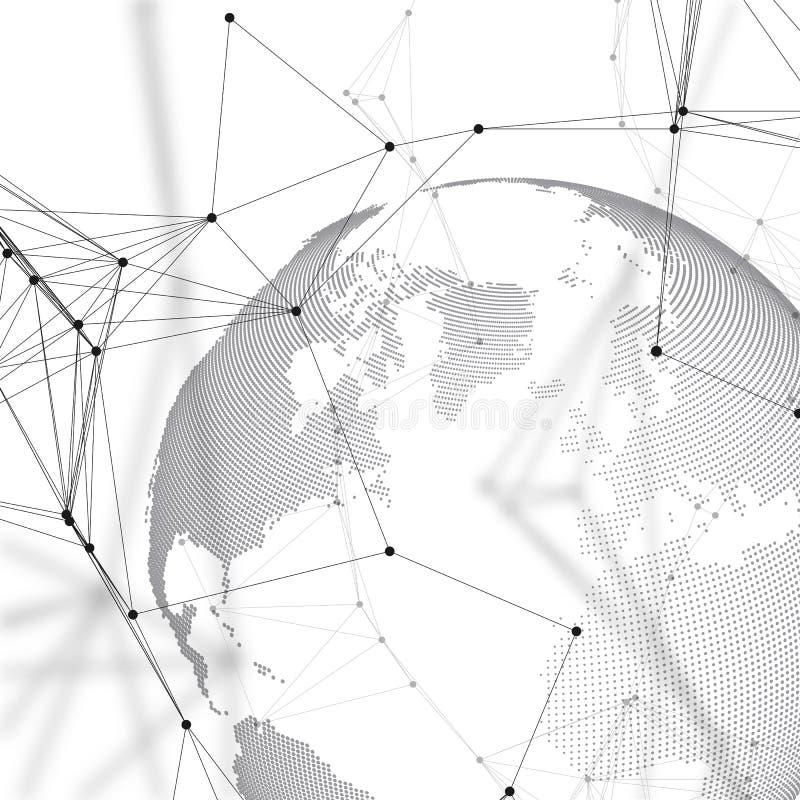 värld för bakgrundsjordklotwhite Anslutningar för globalt nätverk, abstrakt geometrisk design, digitalt begrepp för teknologi royaltyfri illustrationer