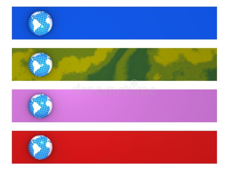 värld för baner fyra vektor illustrationer