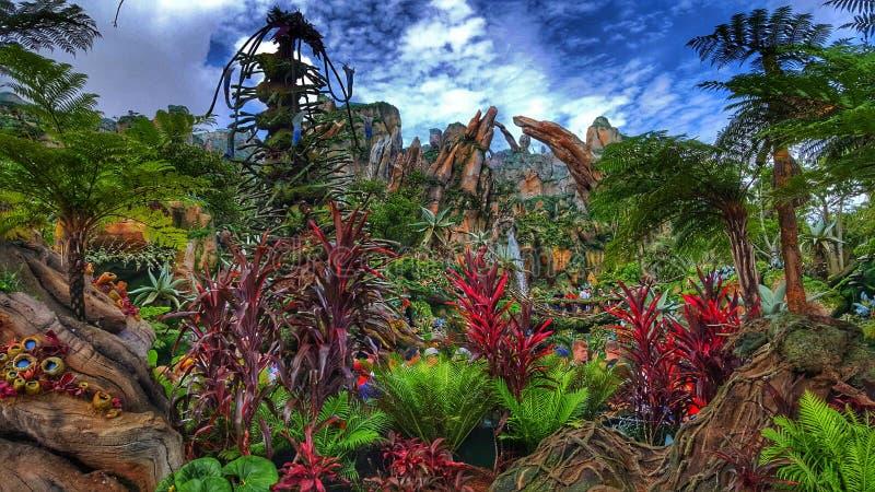 Värld för färger- för Pandora ` s av avataren på djurriketen för Disney ` s royaltyfria bilder
