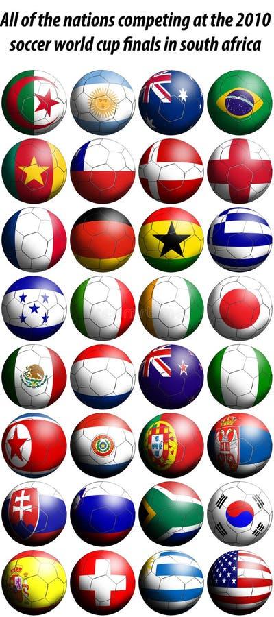 värld för fotboll för 2010 koppflaggor vektor illustrationer