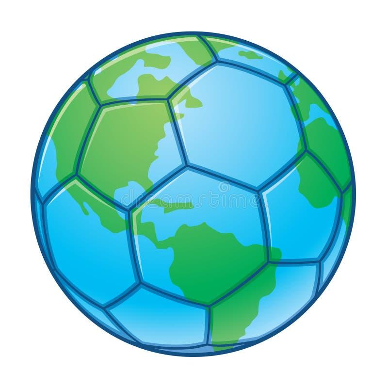 värld för fotboll för planet för bollkoppjord stock illustrationer