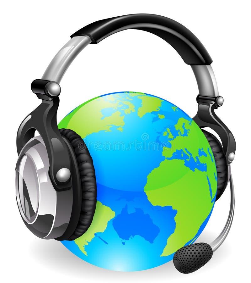 värld för hjälp för skrivbordjordklothörlurar med mikrofon vektor illustrationer