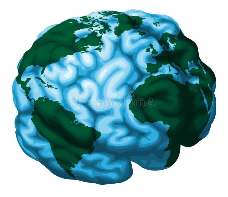 värld för hjärnjordklotillustration stock illustrationer