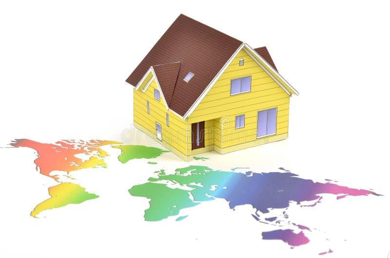 värld för husöversiktsmodell arkivfoton