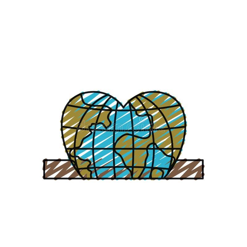 Värld för jord för jordklot för closeup för färgfärgpennakontur plan i hjärtaform som sätter in i rektangulär springa vektor illustrationer