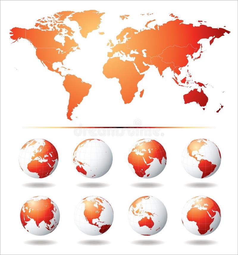 värld för jordklotöversiktsvektor stock illustrationer