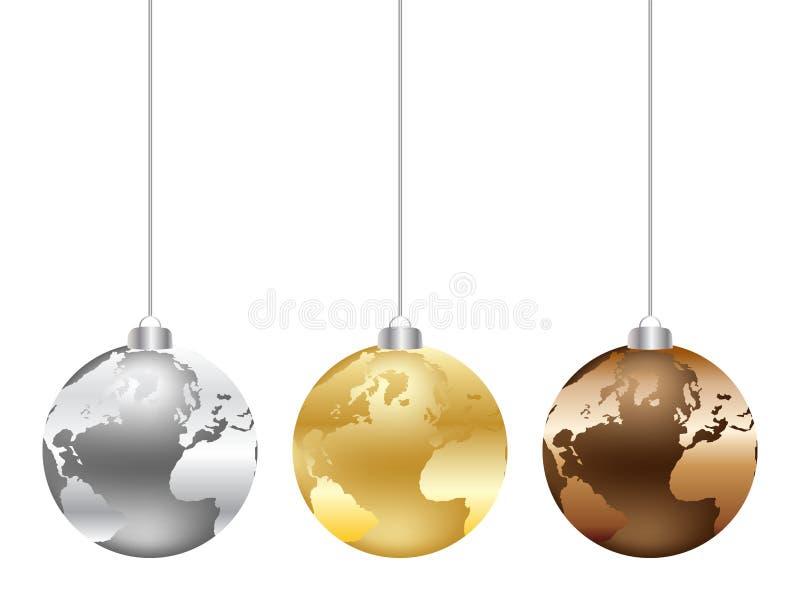 värld för juljordklotöversikt royaltyfri illustrationer