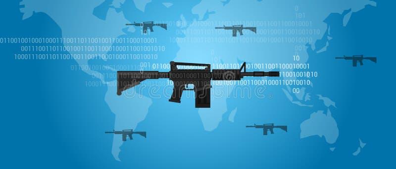 Värld för kod för vapen för Cyberkrigbegrepp digital - brett militärt anfallskjutvapen royaltyfri illustrationer