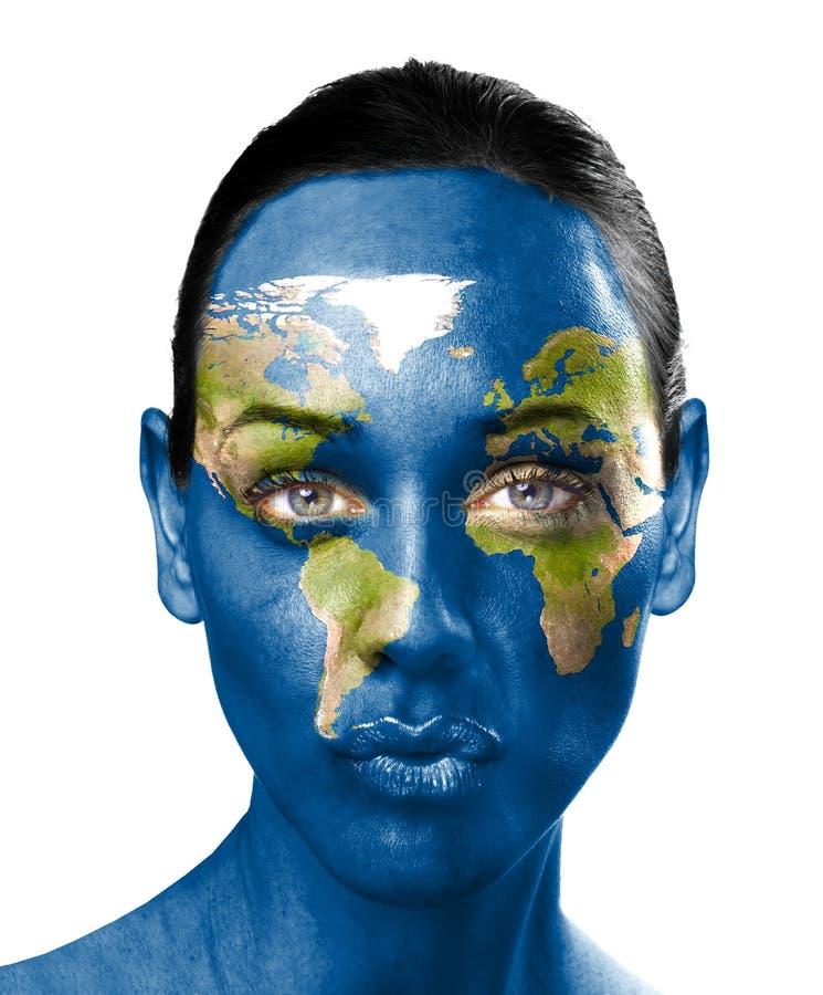 värld för kvinna för skönhetframsidaöversikt royaltyfri illustrationer