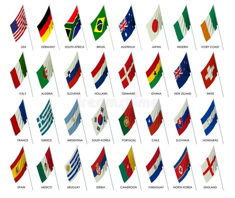 värld för lag för fotboll för 2010 koppflaggor stock illustrationer