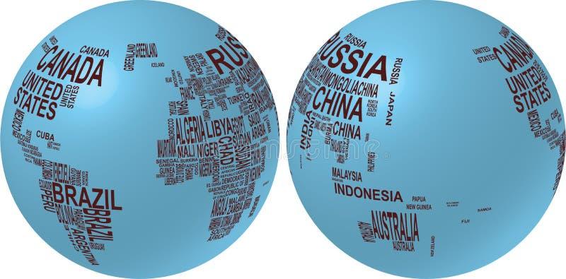 värld för landsöversiktsnamn royaltyfri illustrationer