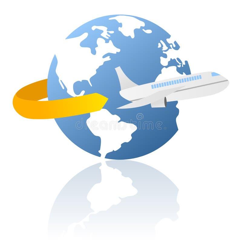 värld för leveranslogolopp stock illustrationer