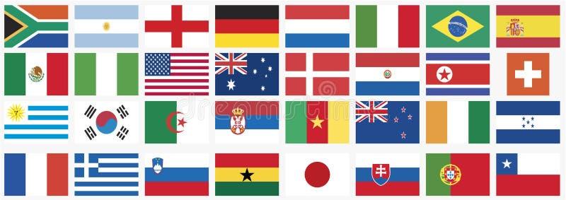 värld för national för 2010 landskoppflaggor vektor illustrationer
