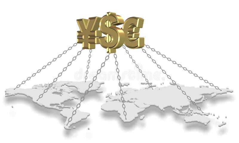 Värld för pengarinnehav stock illustrationer