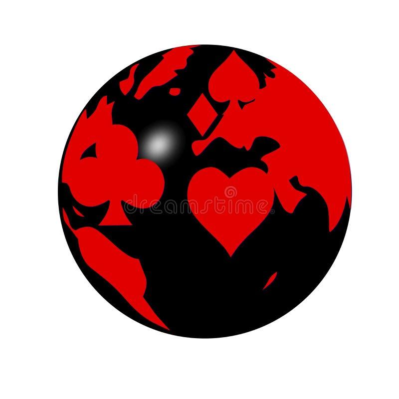 värld för poker för kortbild stock illustrationer