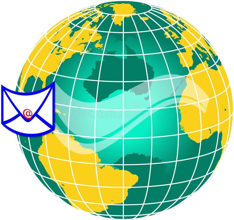 värld för post globe1 stock illustrationer