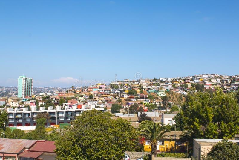 värld för sikt för unesco valparaiso för chile stadsarv historisk panorama- arkivfoton