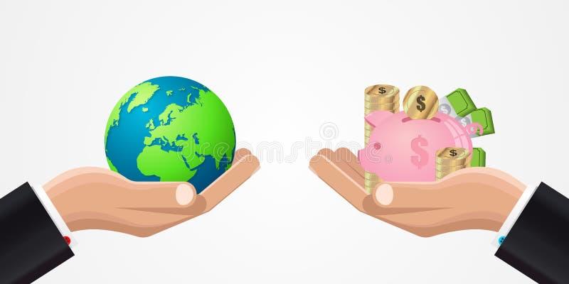 värld för spekulation för bild för begreppsmässig krisekonomi global Affärsidé med pengar vektor stock illustrationer