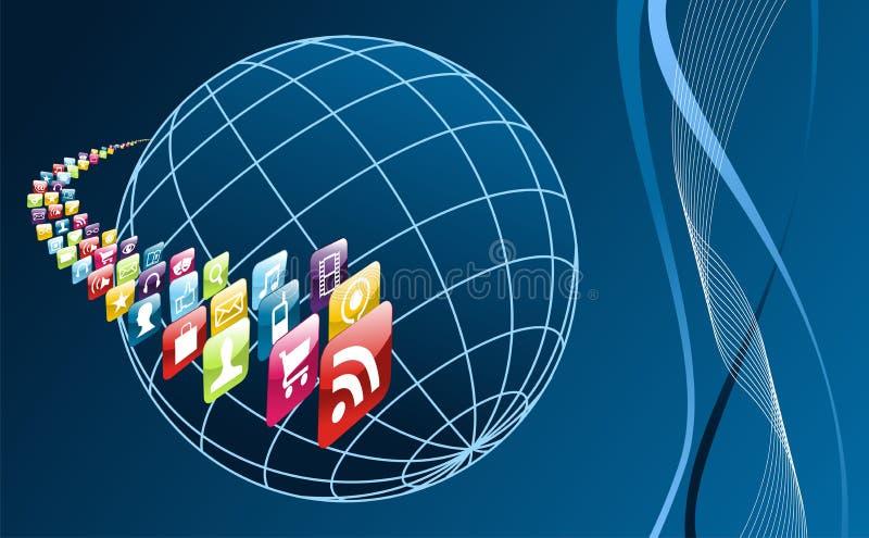 värld för telefon för globala symboler för appsarround mobil vektor illustrationer