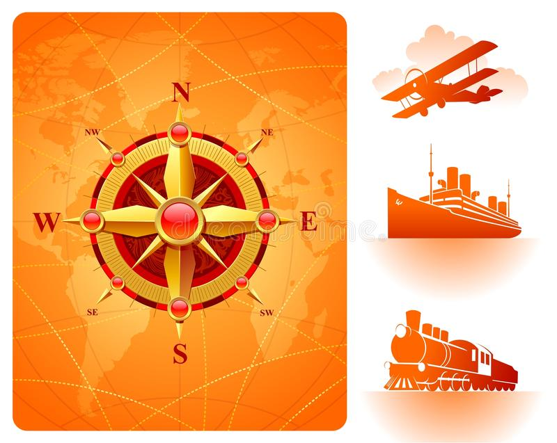 värld för transport för rose för guld- översikt för kompass retro vektor illustrationer