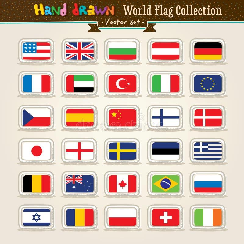värld för vektor för symbol för drawflaggahand set fotografering för bildbyråer