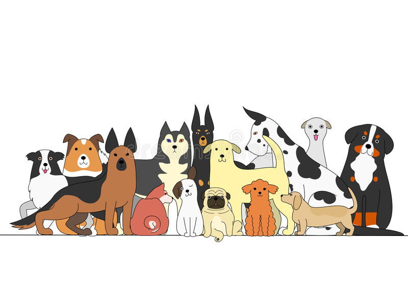 värld för vildmark för ryss för hundgruppnatur royaltyfri illustrationer