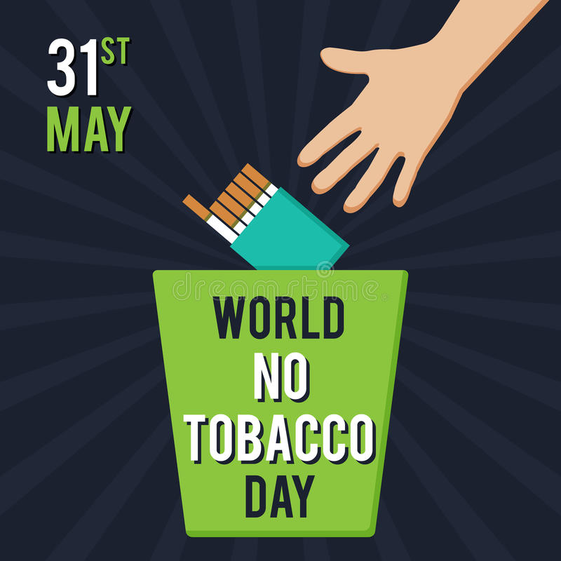 Värld ingen tobakdag Illustration för ferien En man kastar en packe av cigaretter in i avfallet royaltyfri illustrationer