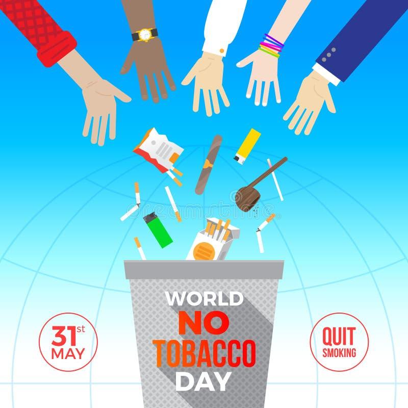 Värld ingen tobakdag Många händer kastar ut cigaretter och andra objekt för att röka bort i avfallet royaltyfri illustrationer