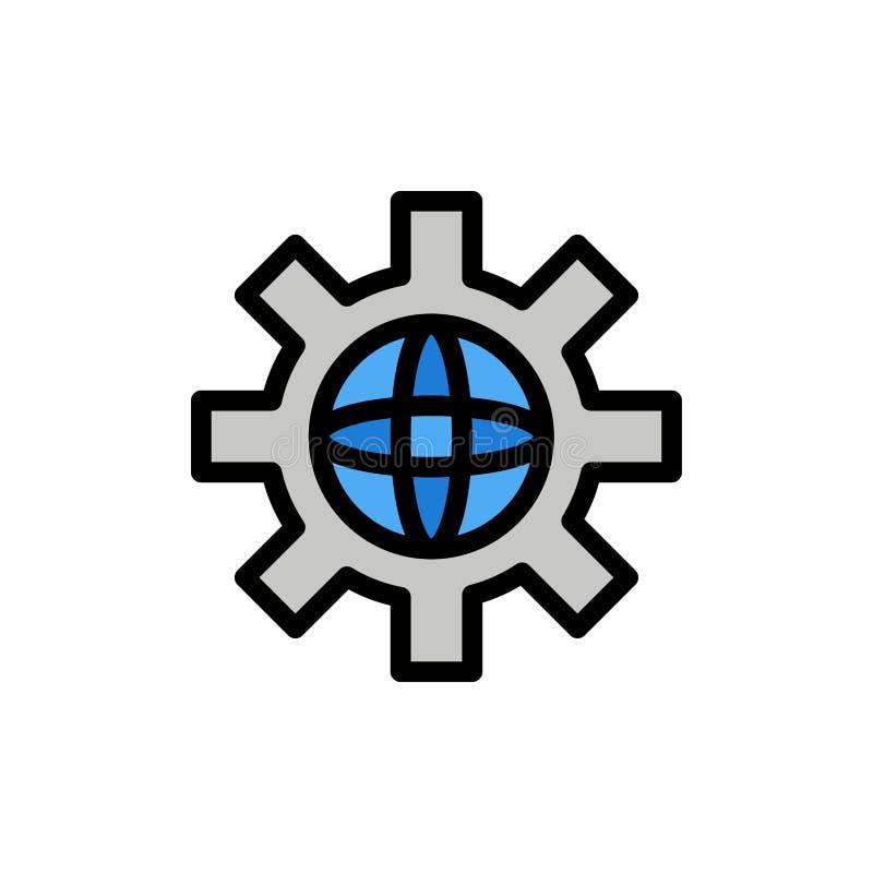 Värld jordklot, inställning, teknisk plan färgsymbol Mall för vektorsymbolsbaner royaltyfri illustrationer