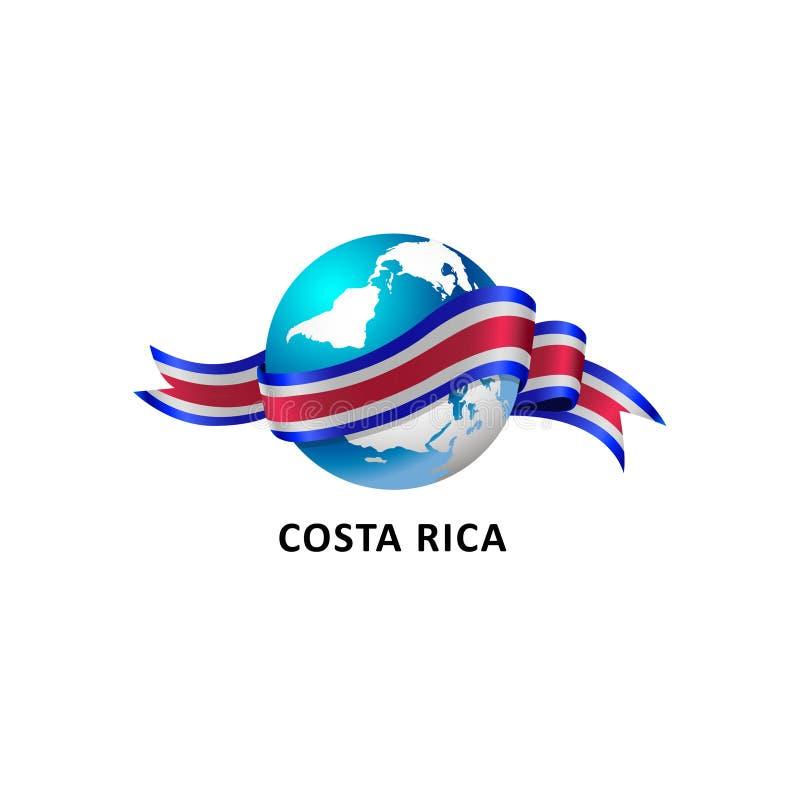 Värld med den Costa Rica flaggan stock illustrationer