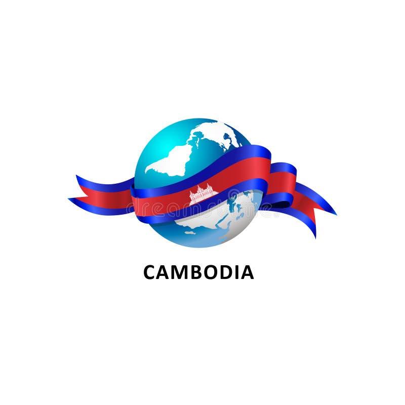 Värld med den Kambodja flaggan vektor illustrationer