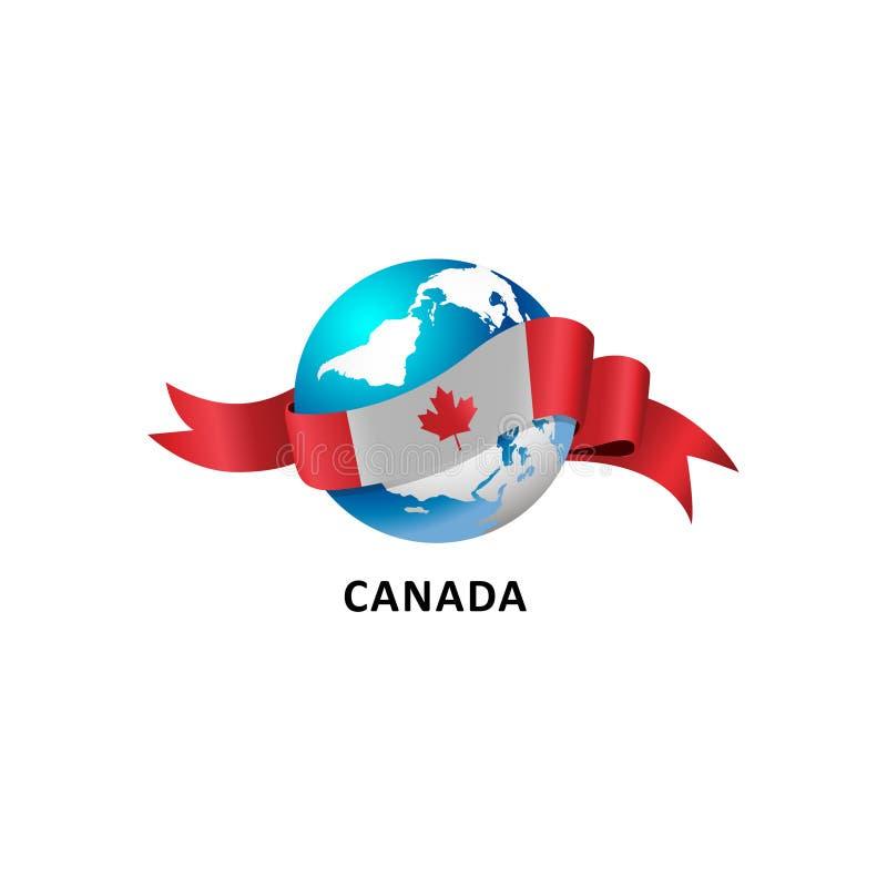 Värld med den Kanada flaggan vektor illustrationer