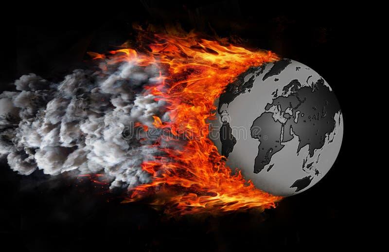 Värld med en slinga av brand och rök - jordklot royaltyfri illustrationer