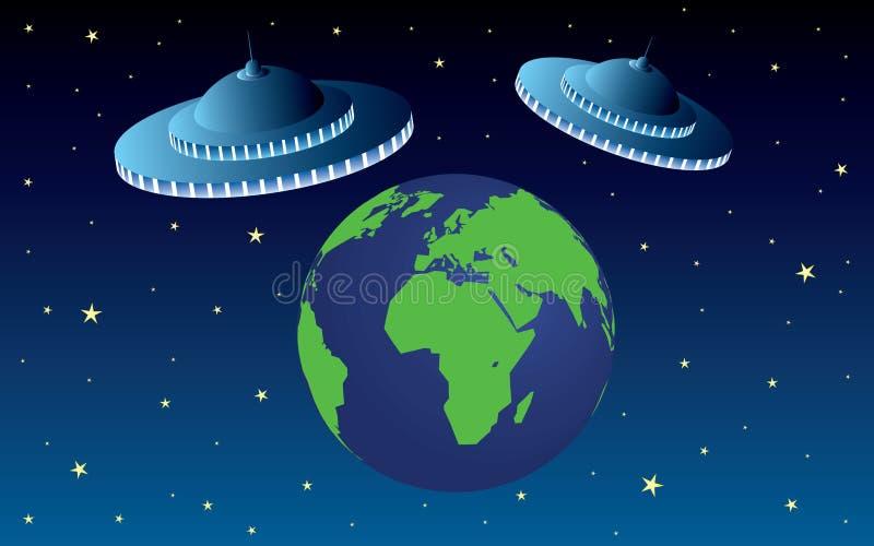 Värld med invasion för utrymmeskepp royaltyfri illustrationer