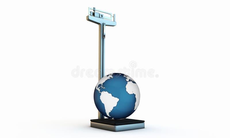 Värld på en scale stock illustrationer