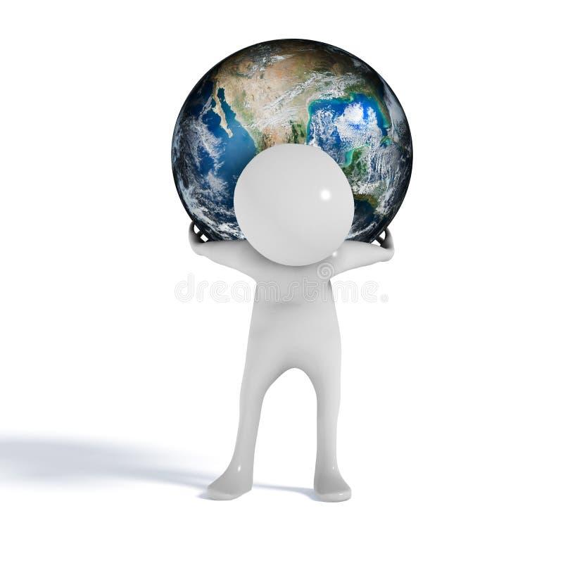 Värld på skuldramandiagram royaltyfri illustrationer