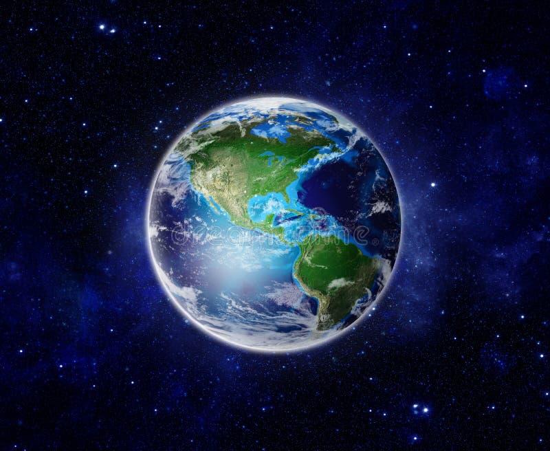 Värld planetjord från utrymme som visar Amerika, USA royaltyfri illustrationer