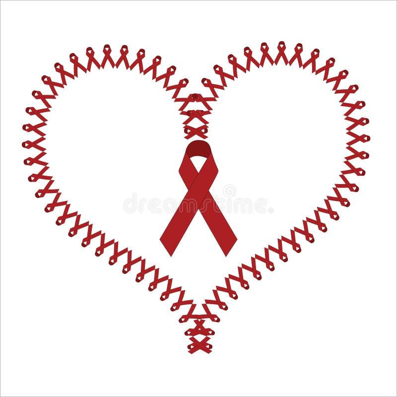 Världen bistår röda banersymboler för dagen som formar en hjärta stock illustrationer