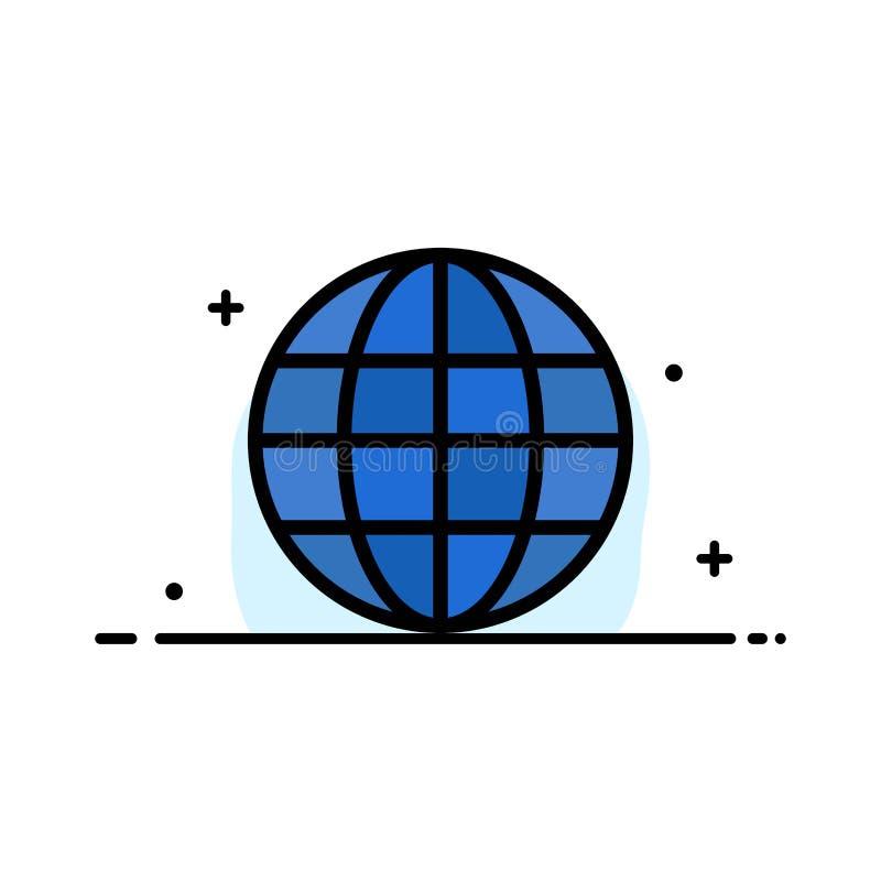 Världen jordklotet, översikten, plan linje för internetaffär fyllde mallen för symbolsvektorbanret royaltyfri illustrationer