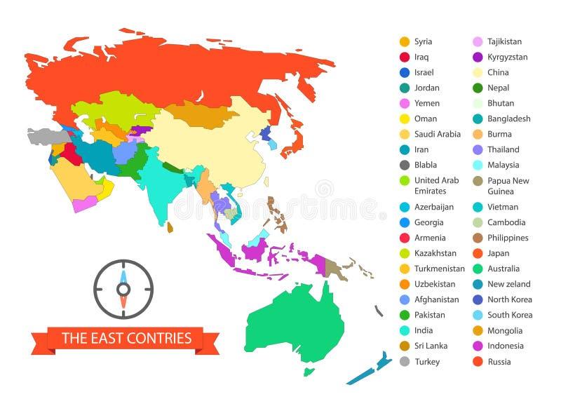 Världen kartlägger den infographic mallen De östliga länderna royaltyfri illustrationer