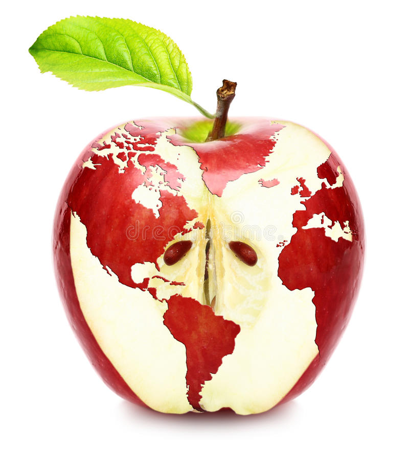 Världen kartlägger på det röda äpplet royaltyfri bild