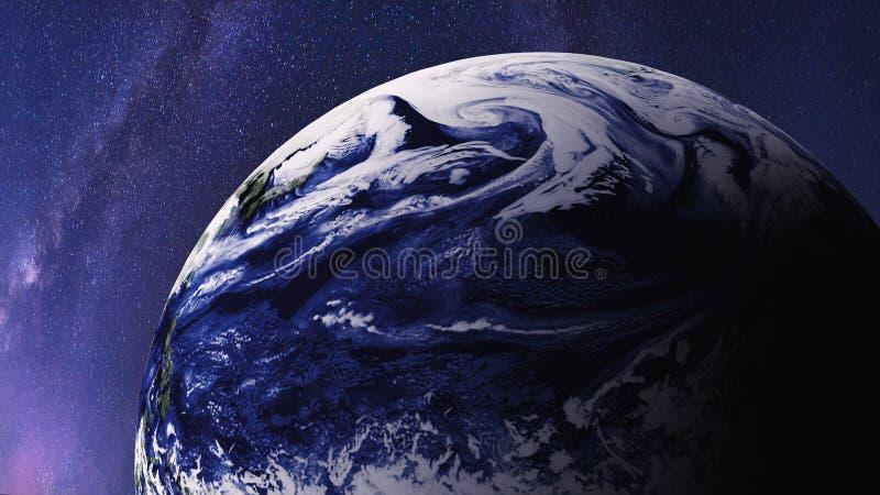 Världen Planetjord, global modell och galax för mjölkaktig väg med stjärnor på utrymme för natthimmel och universum Beståndsdelar royaltyfri illustrationer