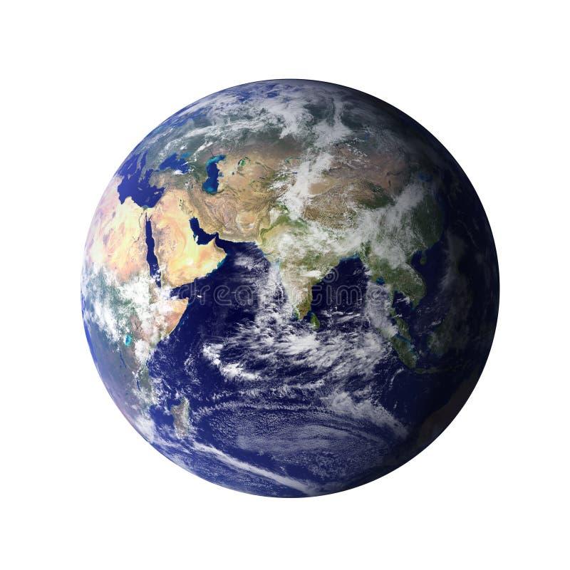 Världen Planetjord, global modell som isoleras på vit bakgrund Beståndsdelar av denna avbildar möblerat av NASA royaltyfri illustrationer